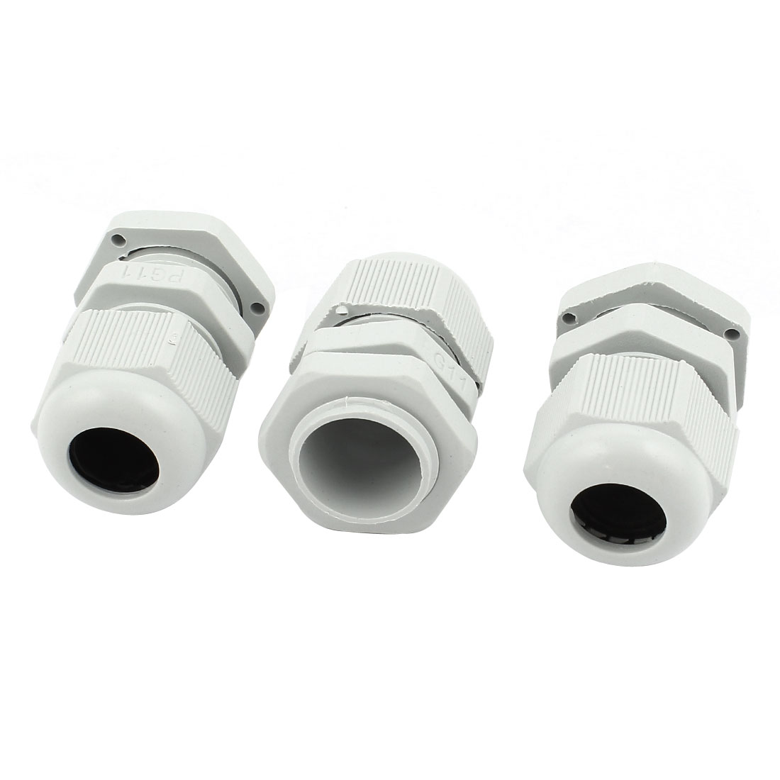 3 Pcs PG11 White Plastic 5-10mm Dia Waterproof Cable Glands Connectors