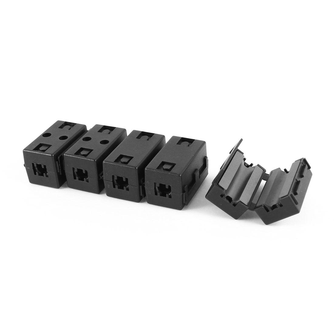5Pcs 6.5mm Cable Hole Dia Clip On UF65B Ferrite Core Square Cable EMI Noise Suppressor Filter Black