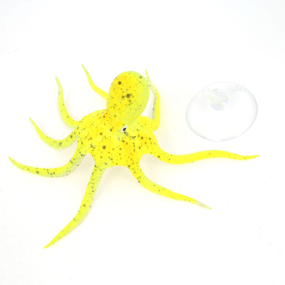 Aquarium Yellow Silicone Artificial Octopus Decoration w Suction Cup