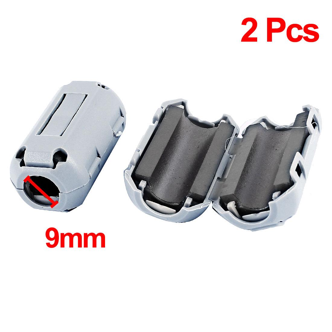 2Pcs 9mm Cable Hole Dia Clip On UF90B Ferrite Core Cable EMI Noise Suppressor Ring Filter Gray