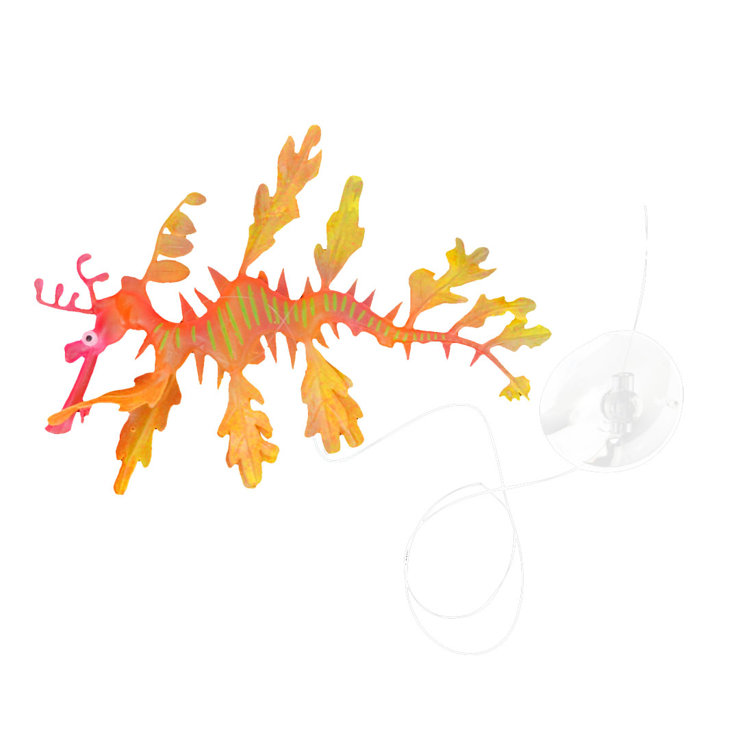 Aquarium Orange Fuchsia Silicone Artificial Sea Dragon Decor w Suction Cup