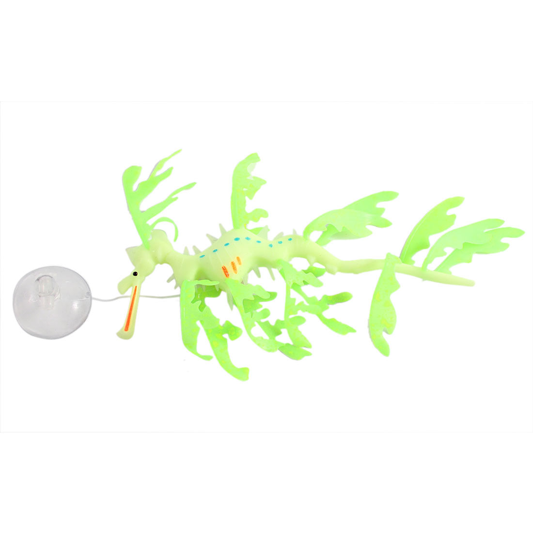 Aquarium Silicone Artificial Sea Dragon Decor Green w Suction Cup