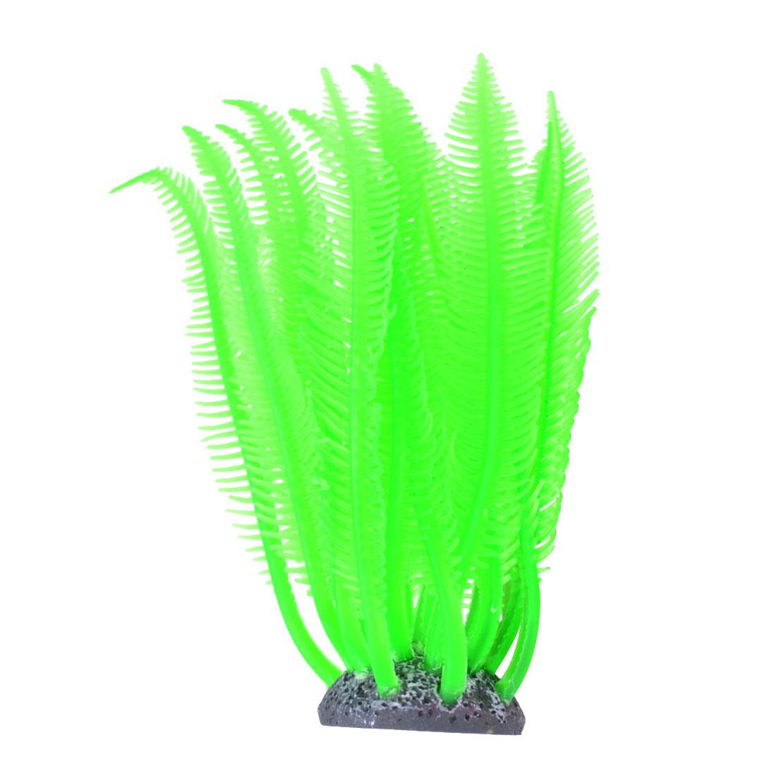Fisk Tank Ornament Black Ceramic Base Emulation Artificial Green Soft Silicone Plant