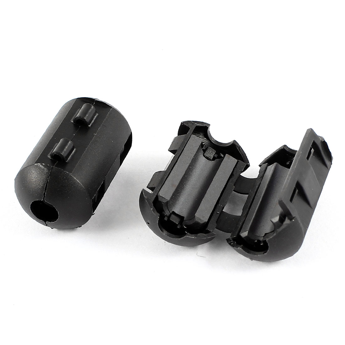 2Pcs 7mm Cable Hole Dia Clip On Electronic Ferrite Core Cable EMI Noise Suppressor Ring Filter Black