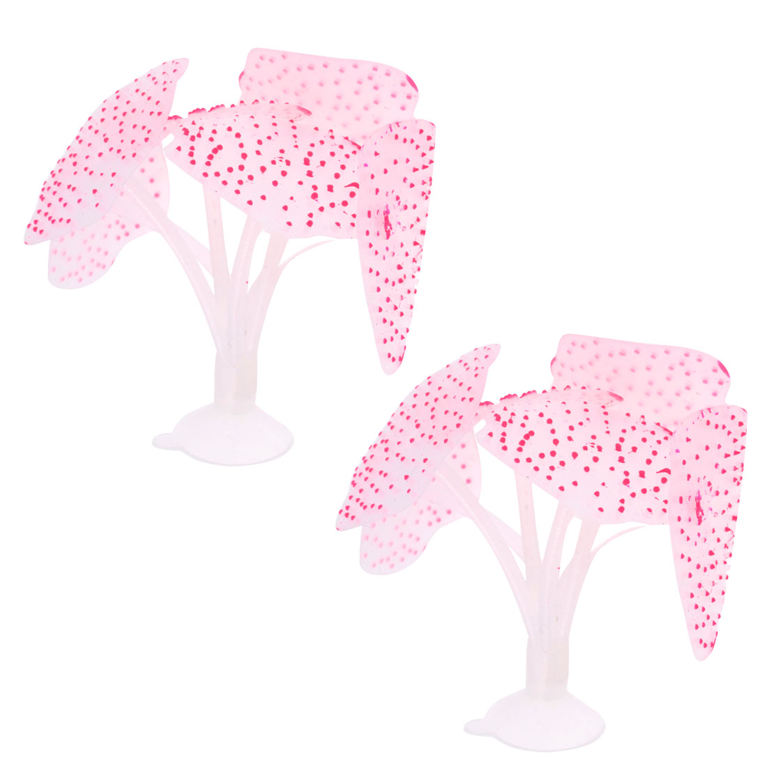 Fish Tank Fuchsia Dotted White Silicone Sea Anemone Coral Mushroom Ornament 2 Pcs