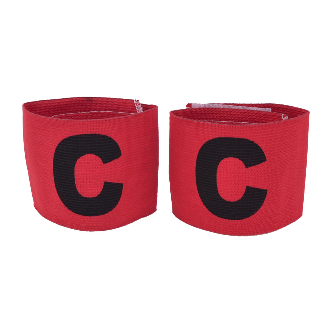 Hook Loop Closure Red Stretchy Team Football Captain Armband 2 PCS