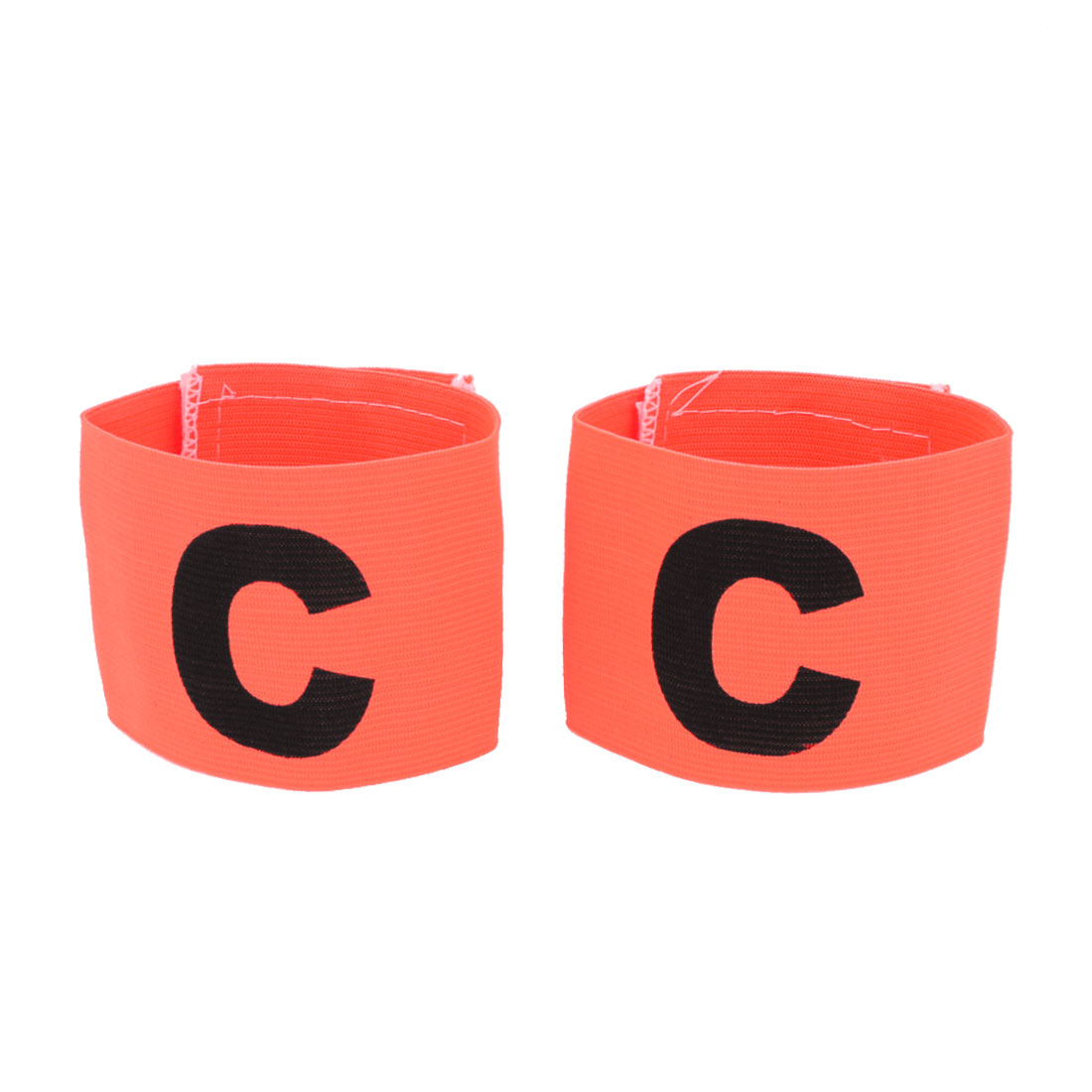 Team Football Stretchy Hook Loop Closure Captain Armband Orange 2 Pcs