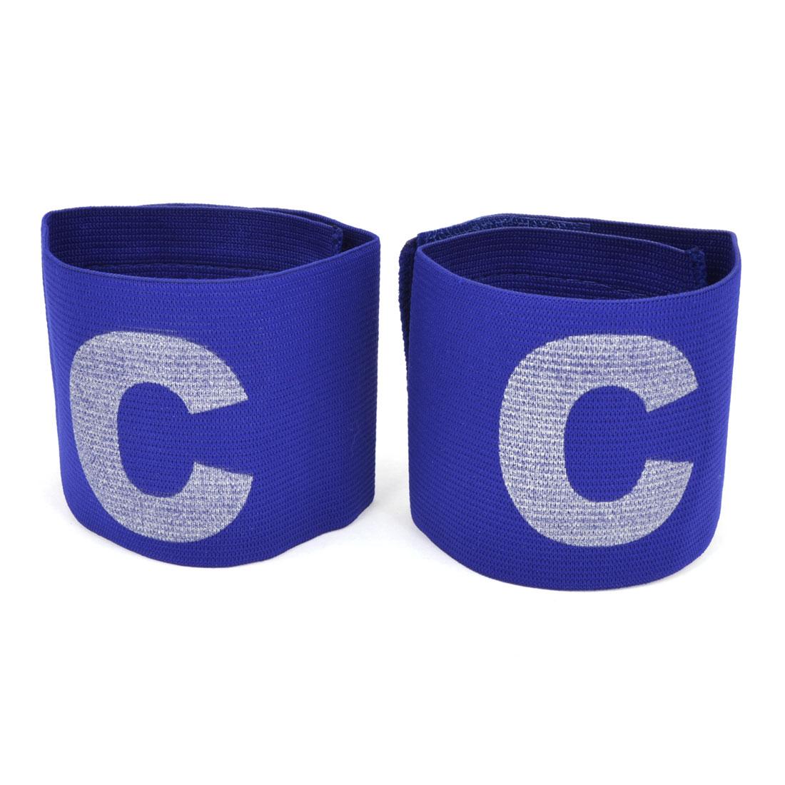 2 Pcs Blue Elastic Football Soccer White Letter C Decor Captain Armband