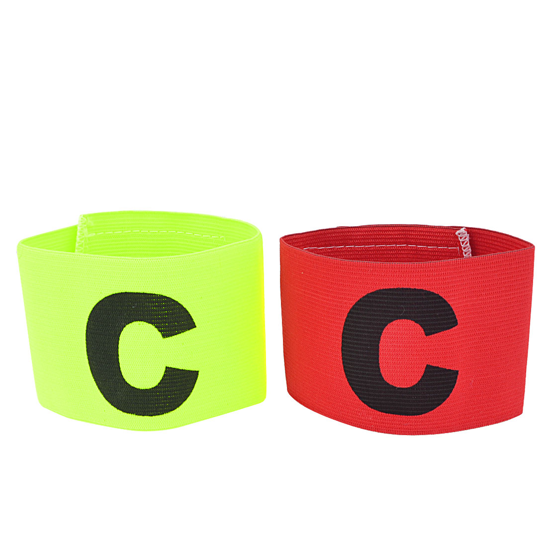 Hook Loop Closure Yellow Green Red Stretchy Football Captain Armband Badge 2 PCS