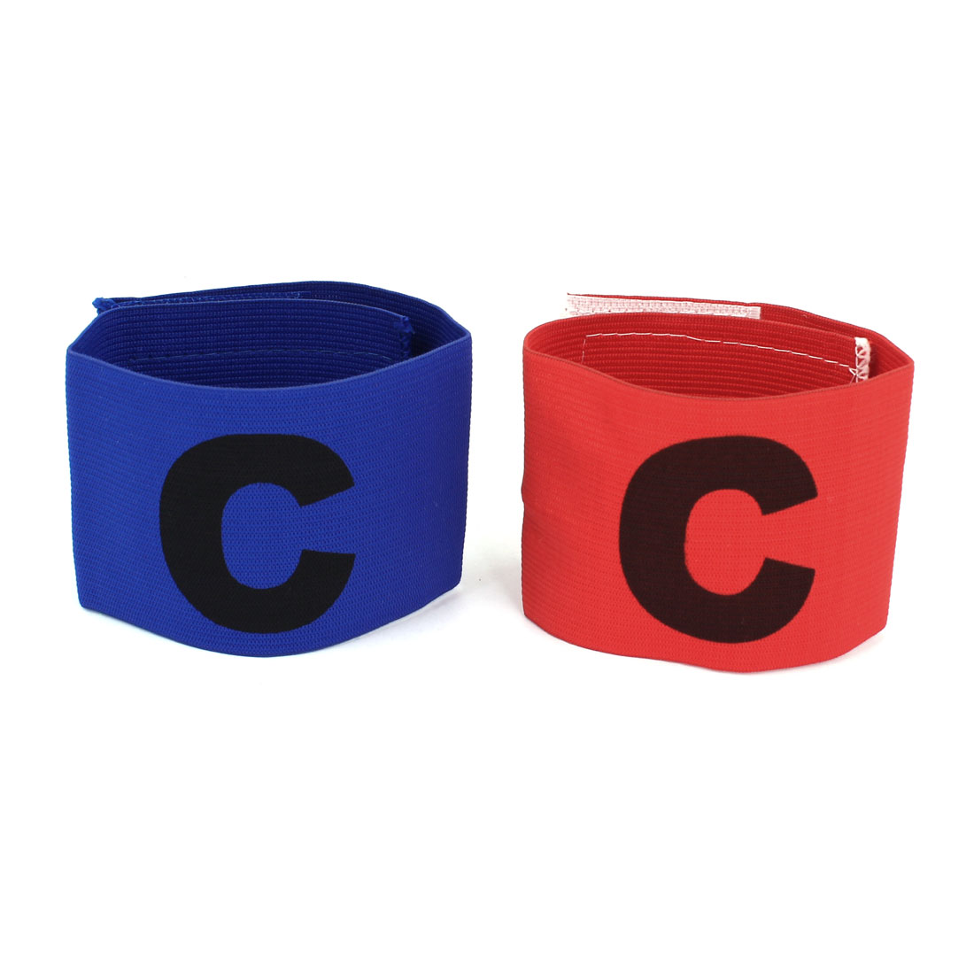 Sports Football Adjustable Captain Badge Armband Sleeve Red Blue 2 PCS