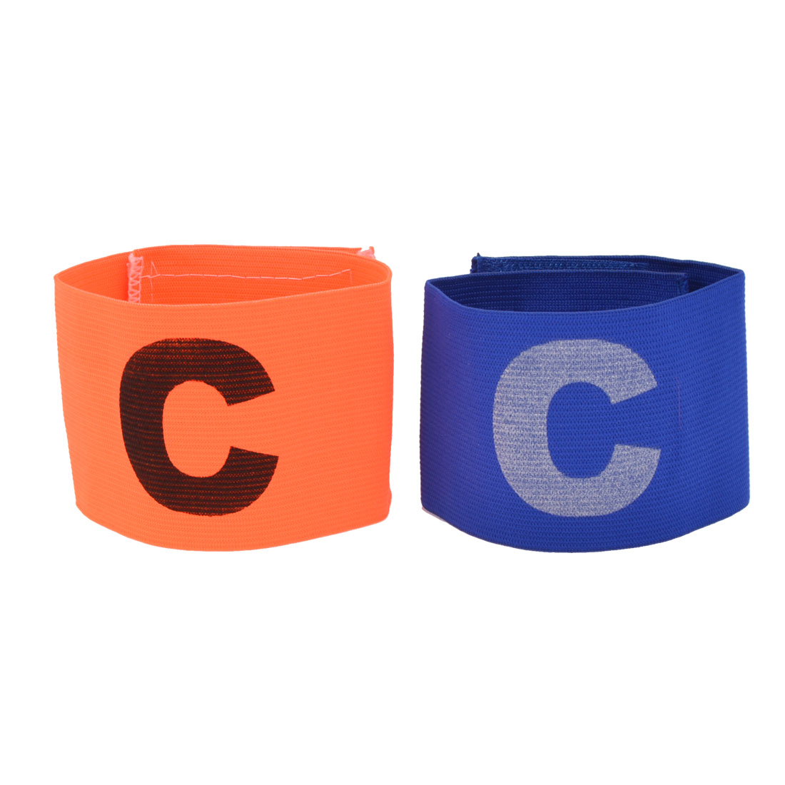 Hook Loop Closure Orange Blue Stretchy Football Captain Armband Badge 2 PCS
