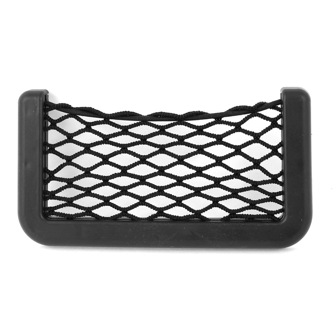 Black Plastic Frame Elastic Nylon Net Design Phone Storage Pocket Pouch Card String Mesh Bag Holder for Car