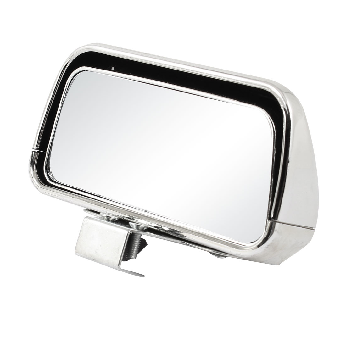 Auto Silver Tone Plastic Adjustable Angle Rectangle Shaped 60 Degree Adjust Wide Angle Rearview Blind Spot Mirror