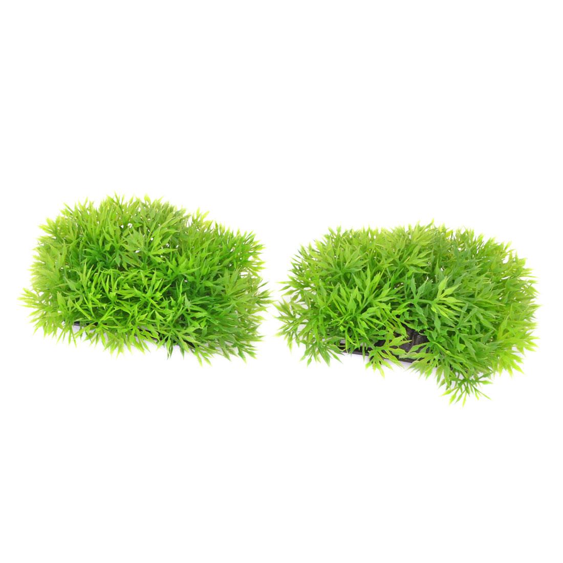 Aquarium Landscaping Manmade Plastic Lawn Plants Decor Green 2 Pcs