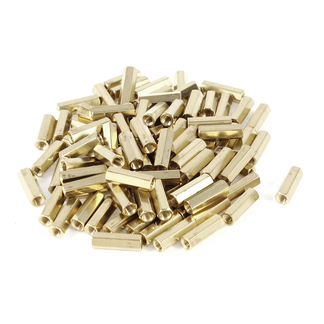 100 Pieces M3 Female Thread PCB Brass Standoff Spacer 15mm High Gold Tone M3x15