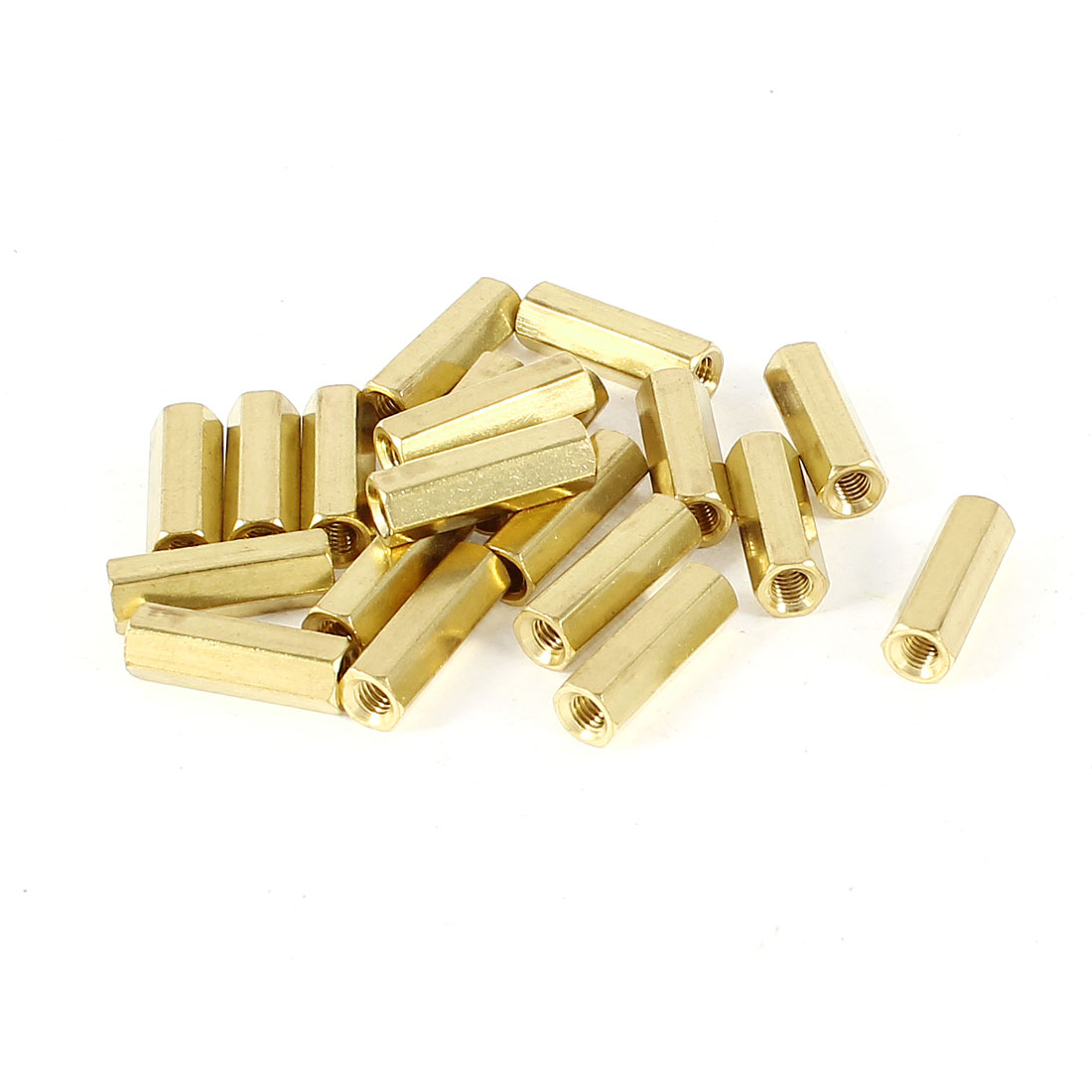 20 Pieces M3 Female Threaded PCB Brass Standoff Spacer 15mm High Gold Tone M3x15