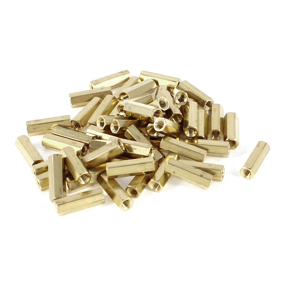 50 Pieces M3 Female Threaded PCB Brass Standoff Spacer 15mm High Gold Tone M3x15
