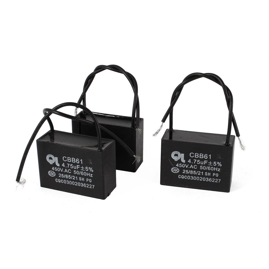 AC 450V 4.75uF 5% Dual Wired Metalized Polypropylene Film Motor Capacitors 3 Pcs