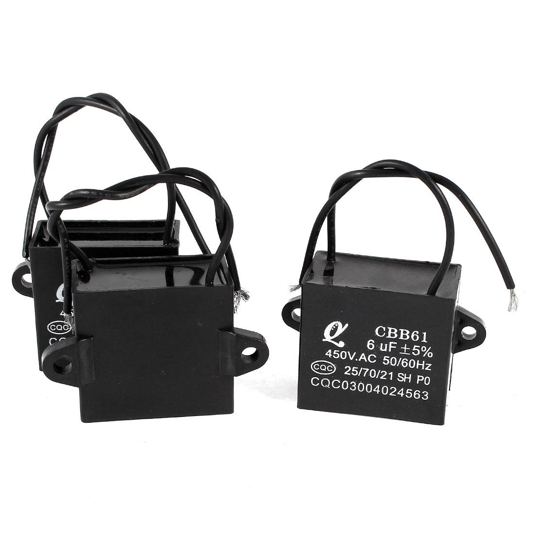 AC 450V 6uF 5% 2 Wired Metalized Polypropylene Film Motor Capacitor Black 3 Pcs