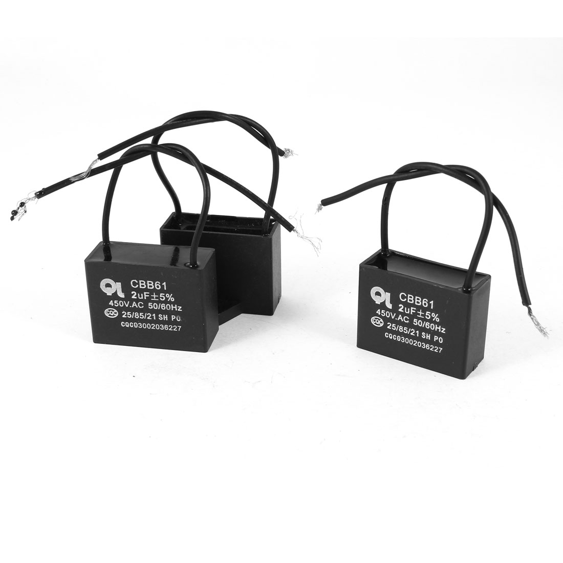 AC 450V 2uF 5% 2 Wired Metalized Polypropylene Film Motor Capacitor Black 3 Pcs
