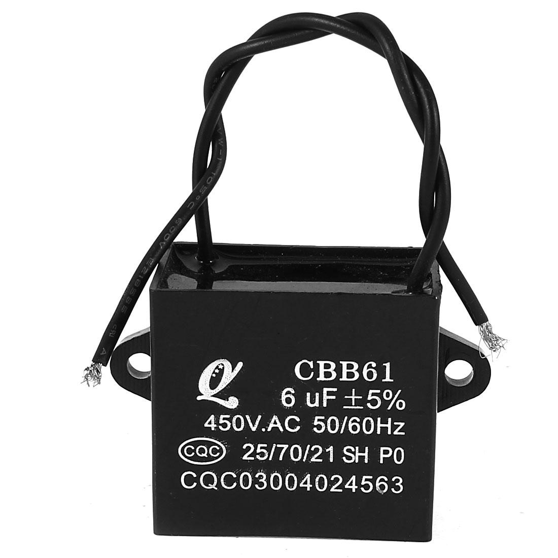 AC 450V 6uF 50/60Hz 5% Wired Metalized Polypropylene Film Motor Capacitor Black