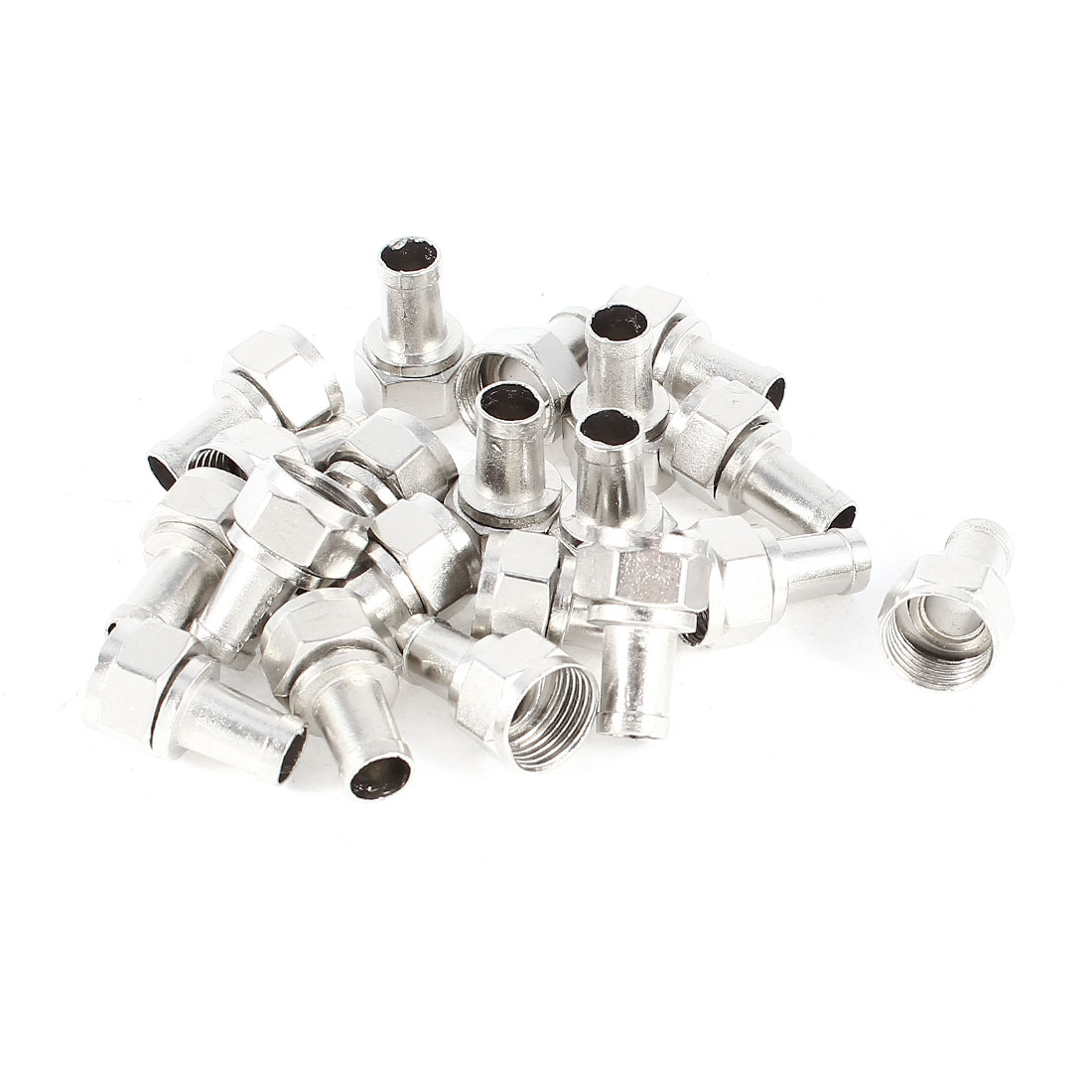 20 Pcs Screw On Coax F-Type Male Connector Adapter Silver Tone for RG6 Cable