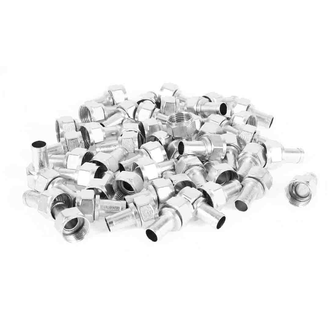 50 Pcs Screw On Coax F-Type Male Connector Adapter Silver Tone for RG6 Cord