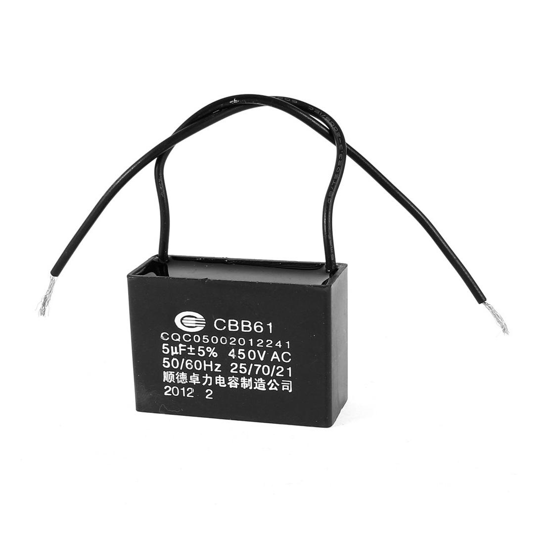 AC 450V 5uF 50/60Hz 5% 2-Wire Metalized Polypropylene Film Motor Capacitor Black