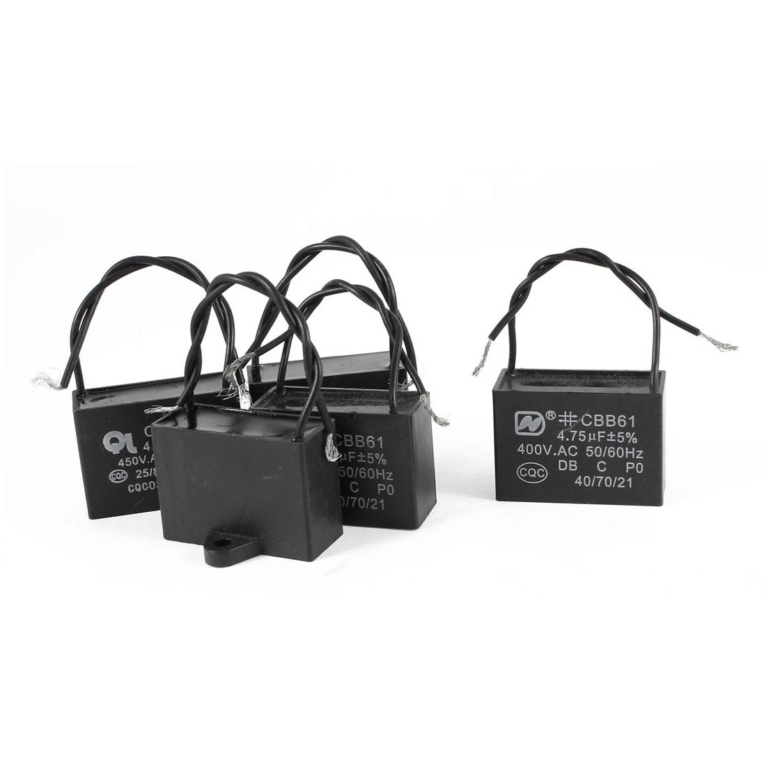 5 Pcs AC 450V 4.75uF 5% 2 Wired Metalized Polypropylene Film Motor Capacitor Black
