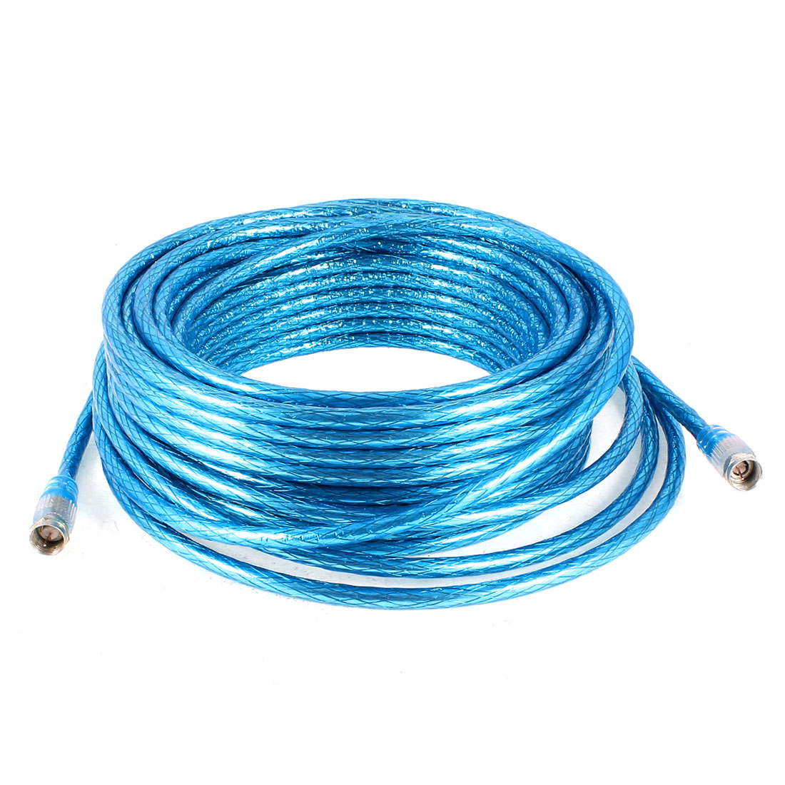 18M 60Ft F Type Male to Male M/M Connector Adapter Coaxial Cable Cord Blue