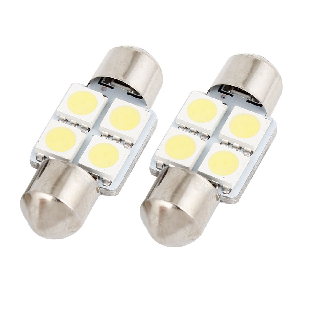 "2PCS 31mm 1.25"" 5050 SMD 4 White LED Festoon Dome Light 3175 DE3021 Internal"