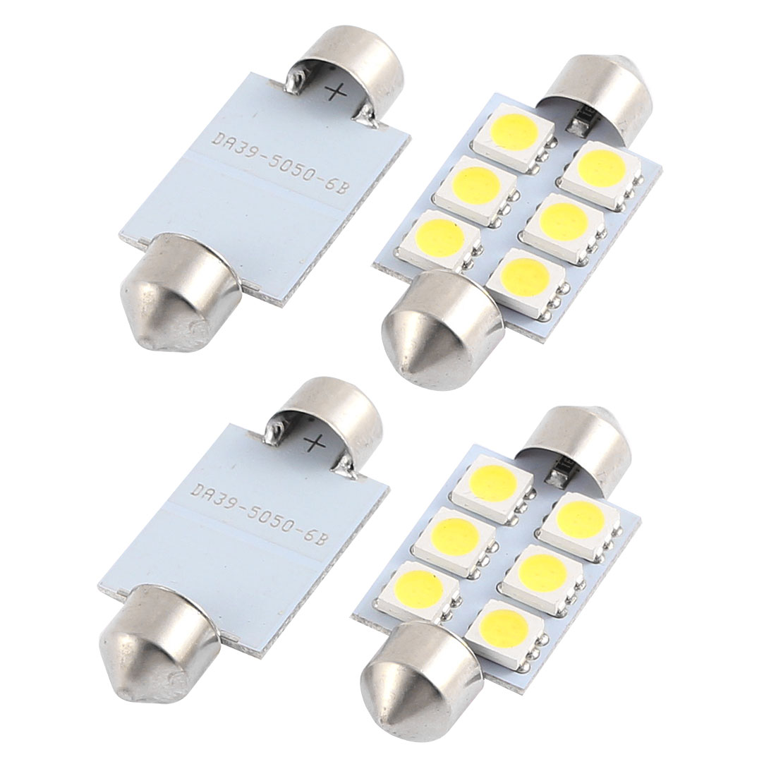 4 x 39MM NUMBER PLATE INTERIOR LIGHT FESTOON BULB 6 LED WHITE 239 c5w