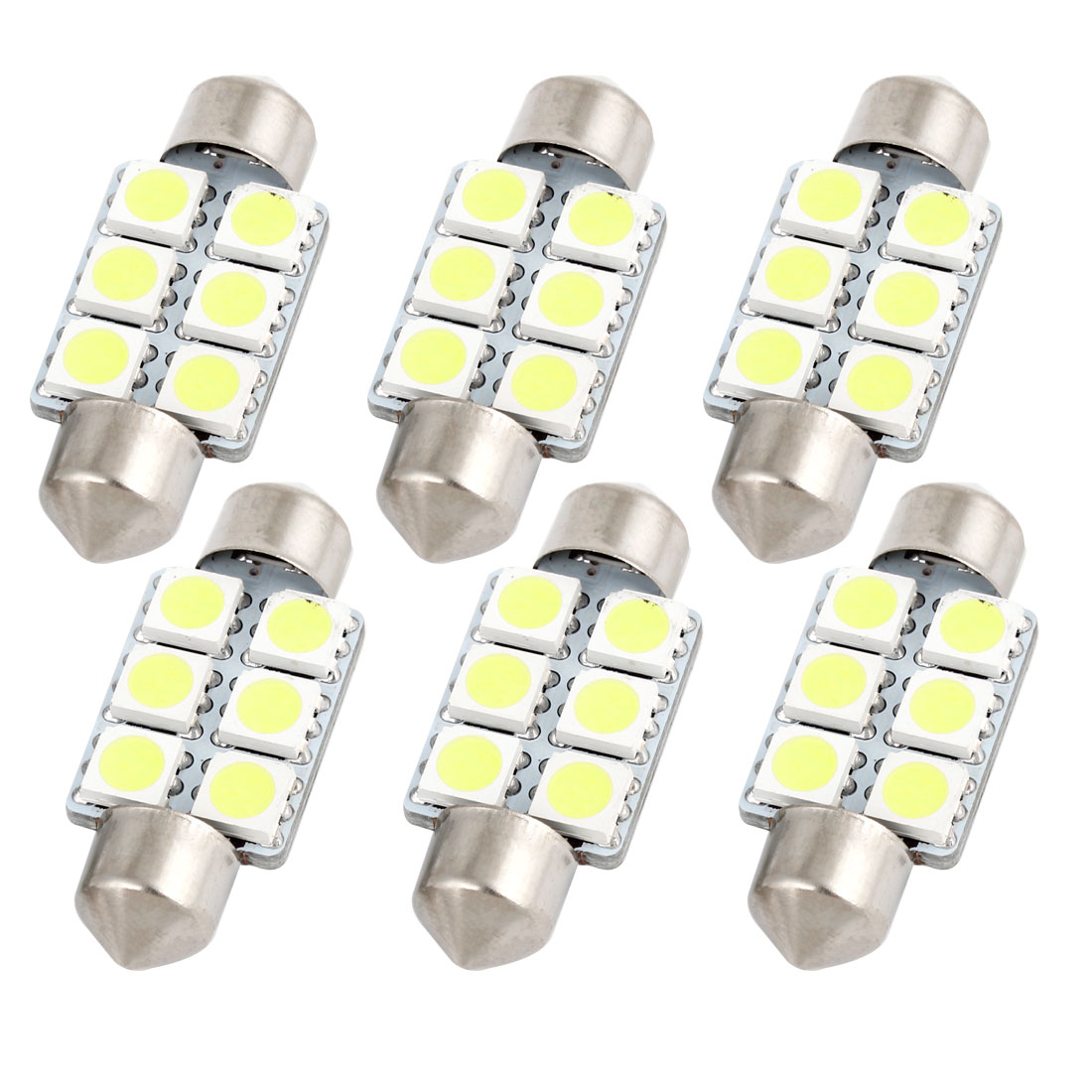 6 X White 36MM 5050 6SMD Festoon Dome Map Interior LED Light bulbs DE3423 6418