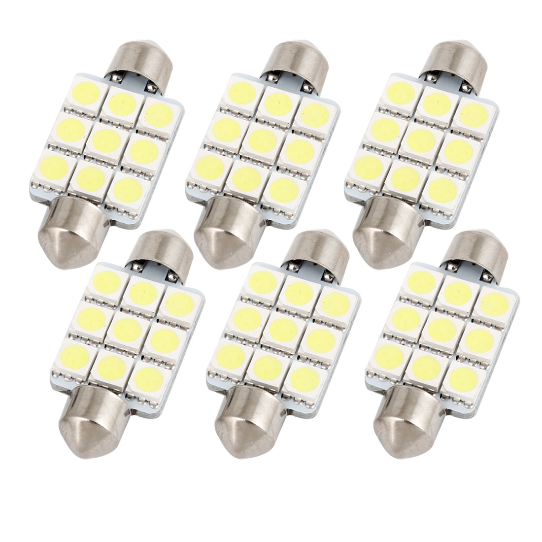 "6pcs White 9-SMD 5050 LED 1.54"" 39mm Festoon Dome Lights 6423 6461 6418 Internal"
