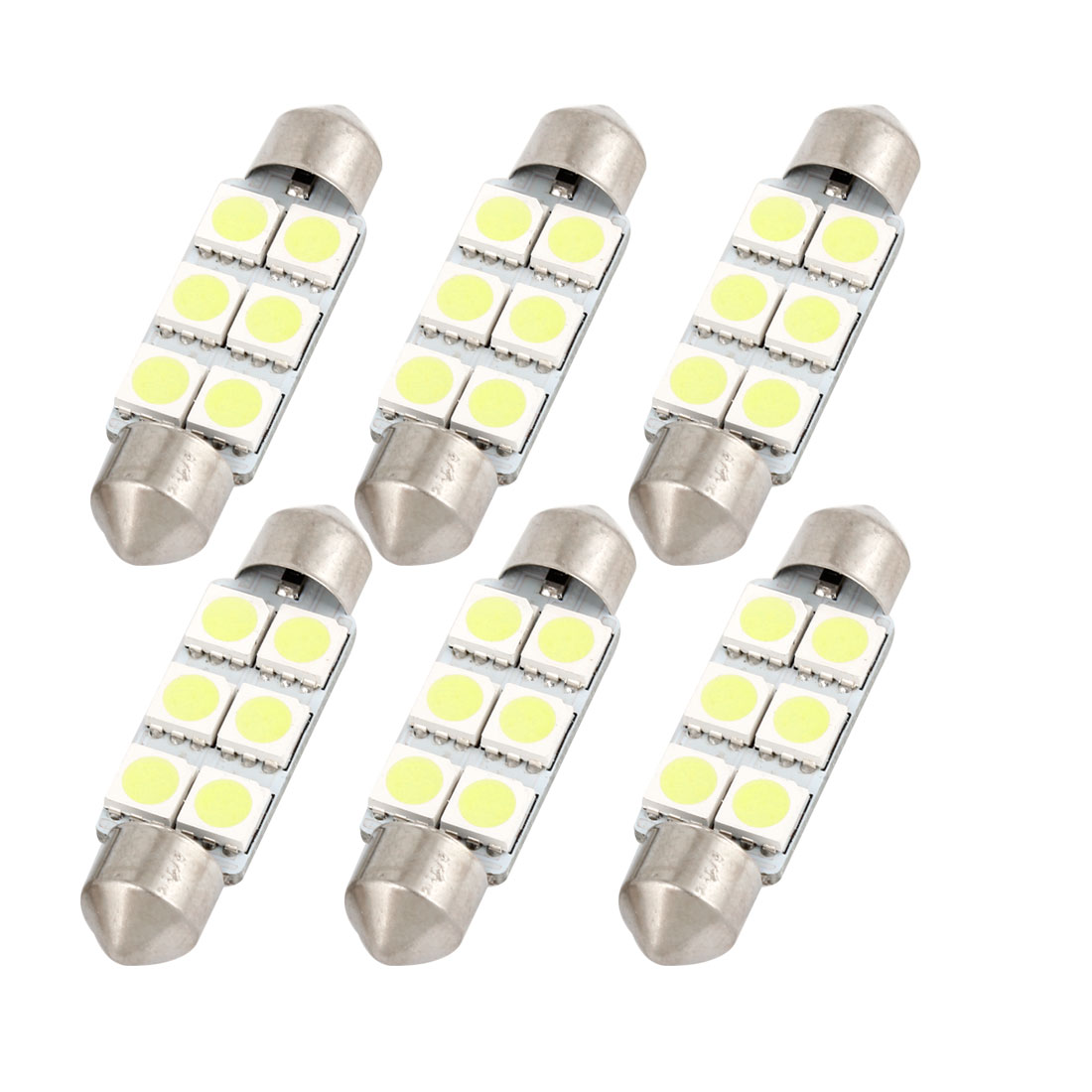 6PCS 41mm 6-LED 5050 White SMD Festoon Dome Light Map Lamp 211-2 212-2 Internal