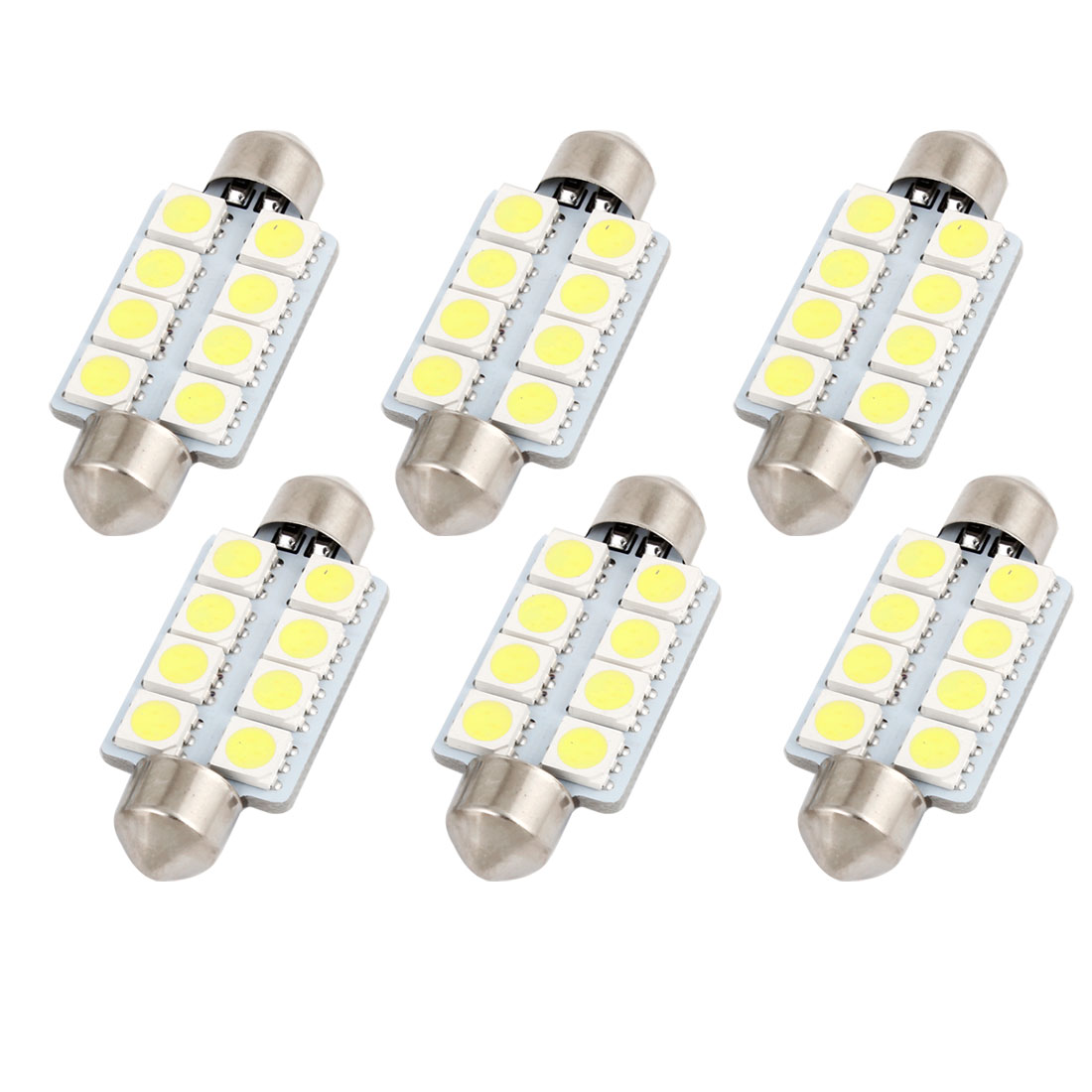 6pcs 41mm 5050 SMD 8-LED Festoon Dome Light White 6413 211-2 212-2 560 Internal