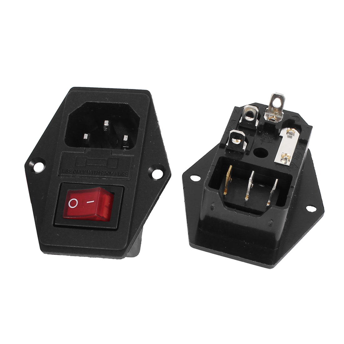 2 Pcs Red Indicator SPST Rocker Switch Fuse Holder IEC320 C14 Power Inlet Socket