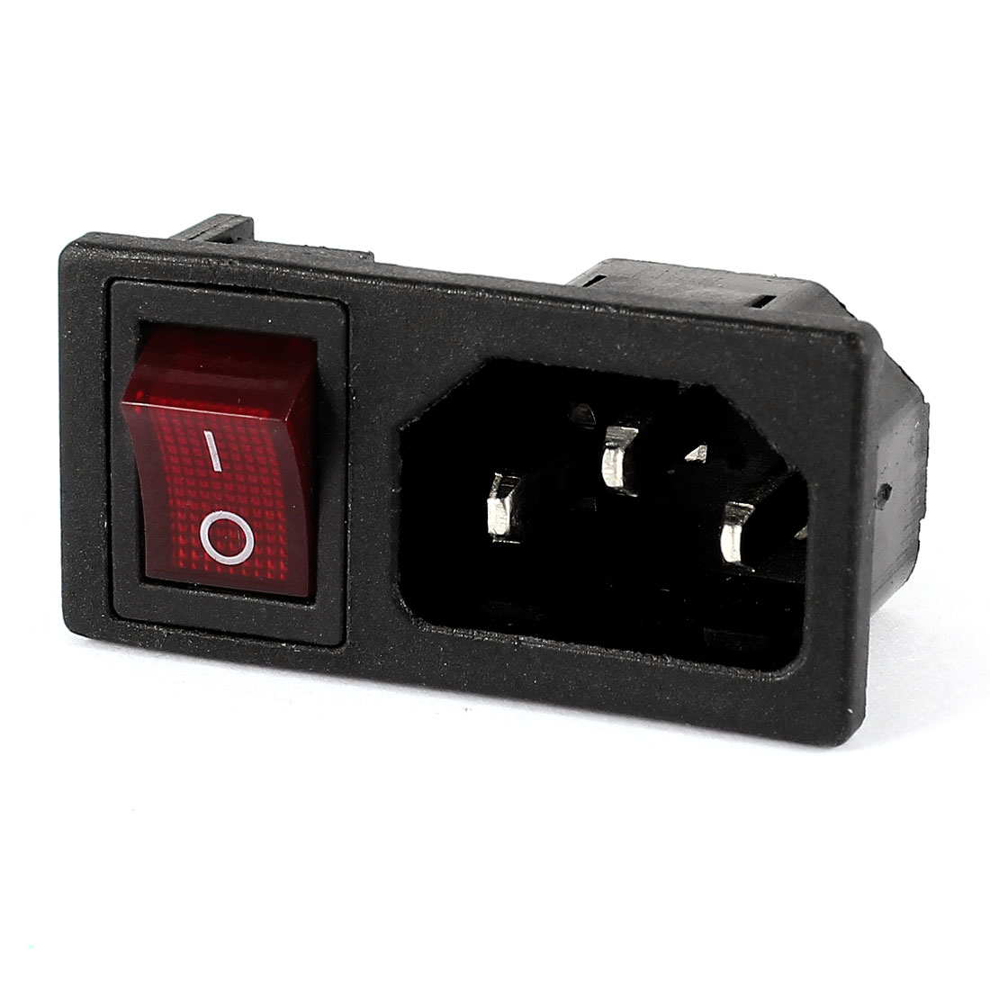 Panel Mount IEC320 C14 Inlet Power Socket On/Off SPST Red Rocker Switch AC 250V 10A