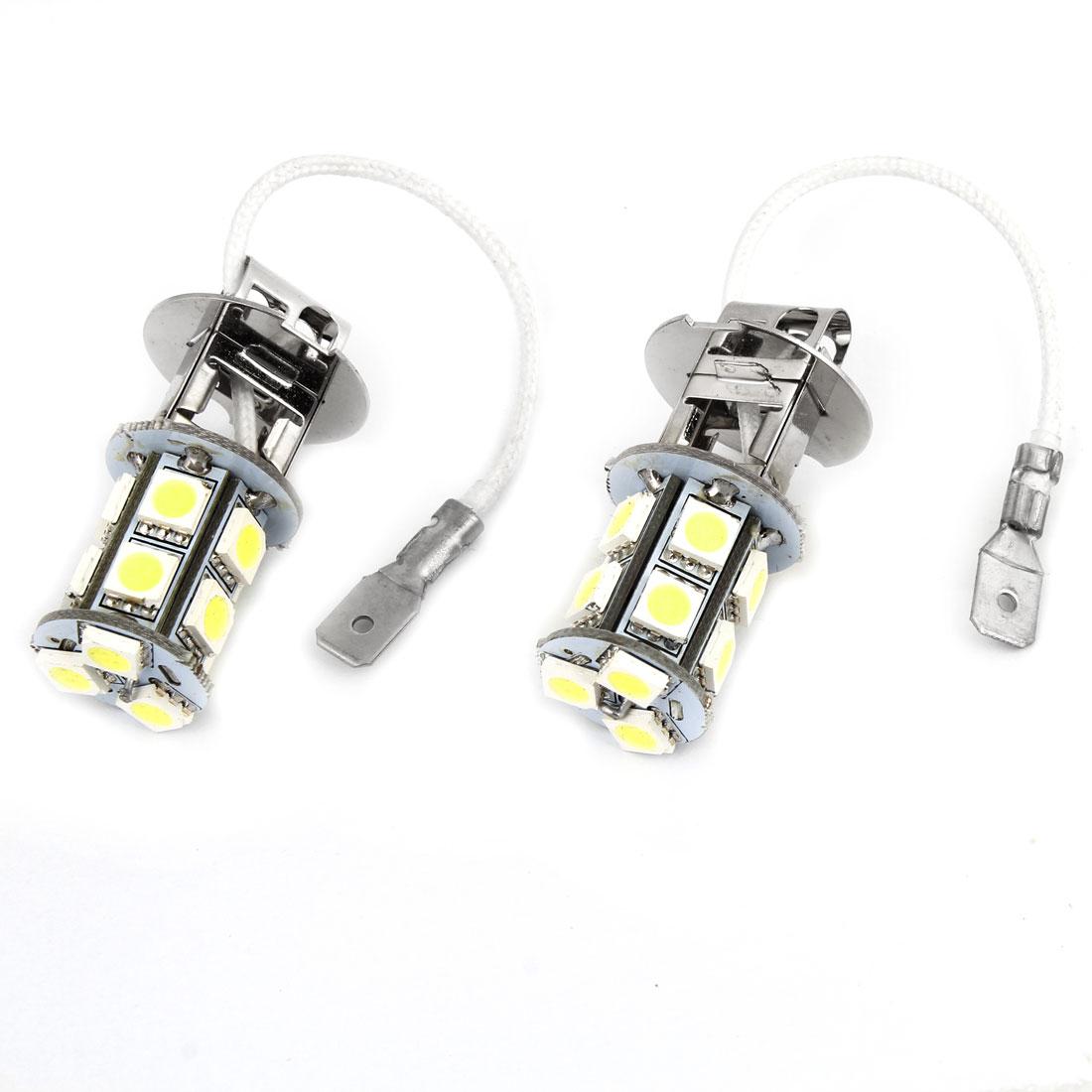 2 Pcs H3 5050 SMD 13 LED Car White DRL Foglight Bulb Headlamp DC 12V