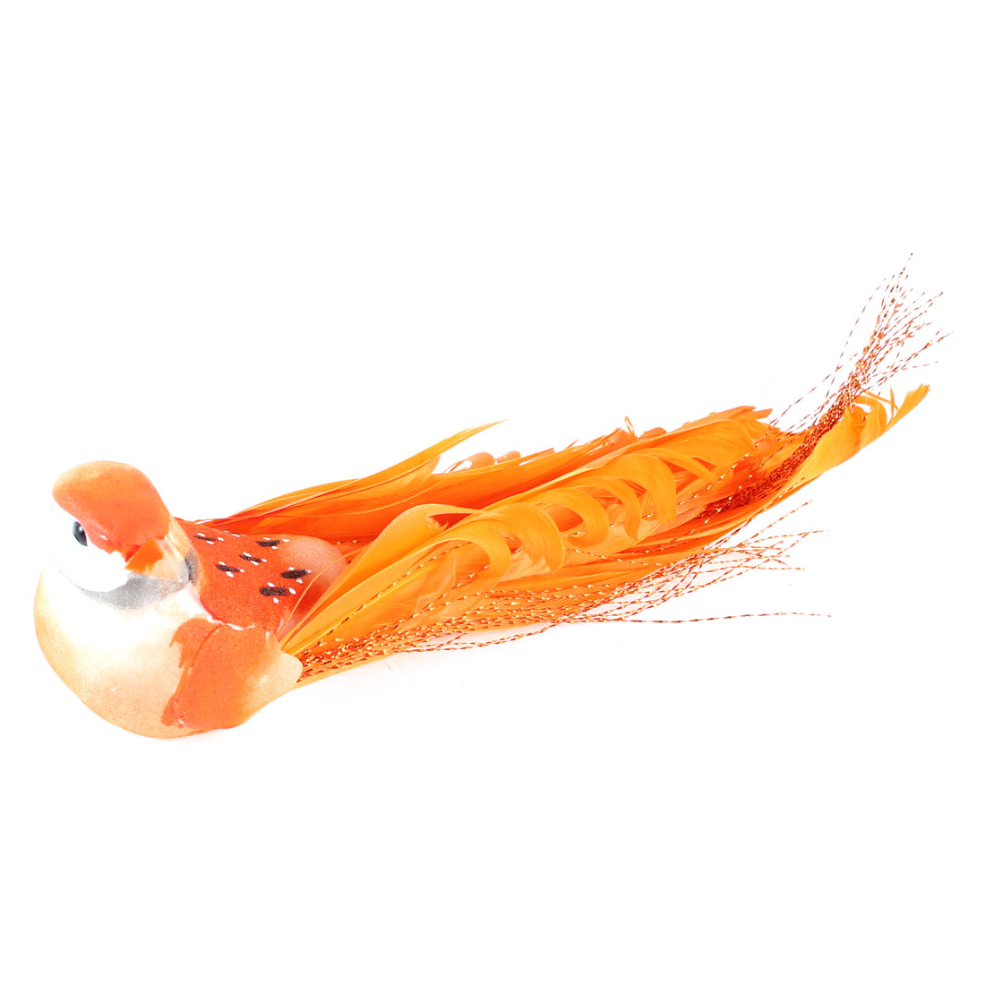 Twinkle Thread Accent Magnetic Simulated Bird Animal Decor Orange 14cm Lenght