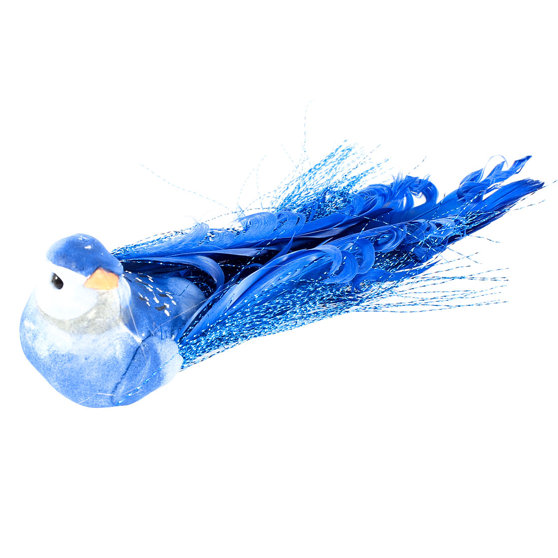 Glitter Thread Accent Magnetic Body Simulated Bird Decor Blue 14cm Lenght