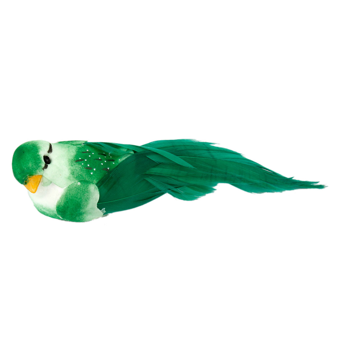 Christmas Adorn Simulation Faux Feather Foam Bird Shape Ornament Green