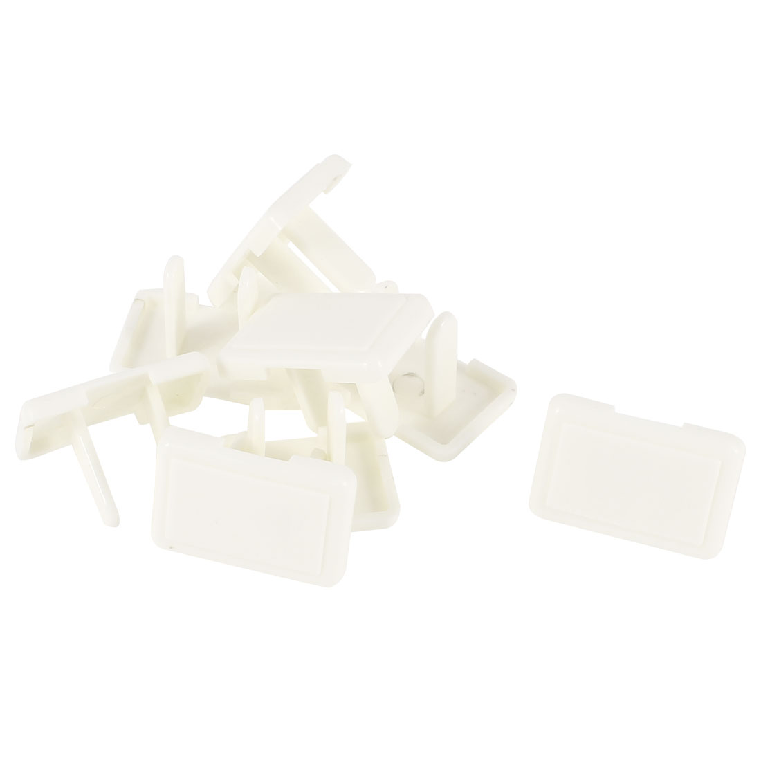8 Pcs 2 Pole Flat Plug Rectangle Protecting Socket Cover Plastic White