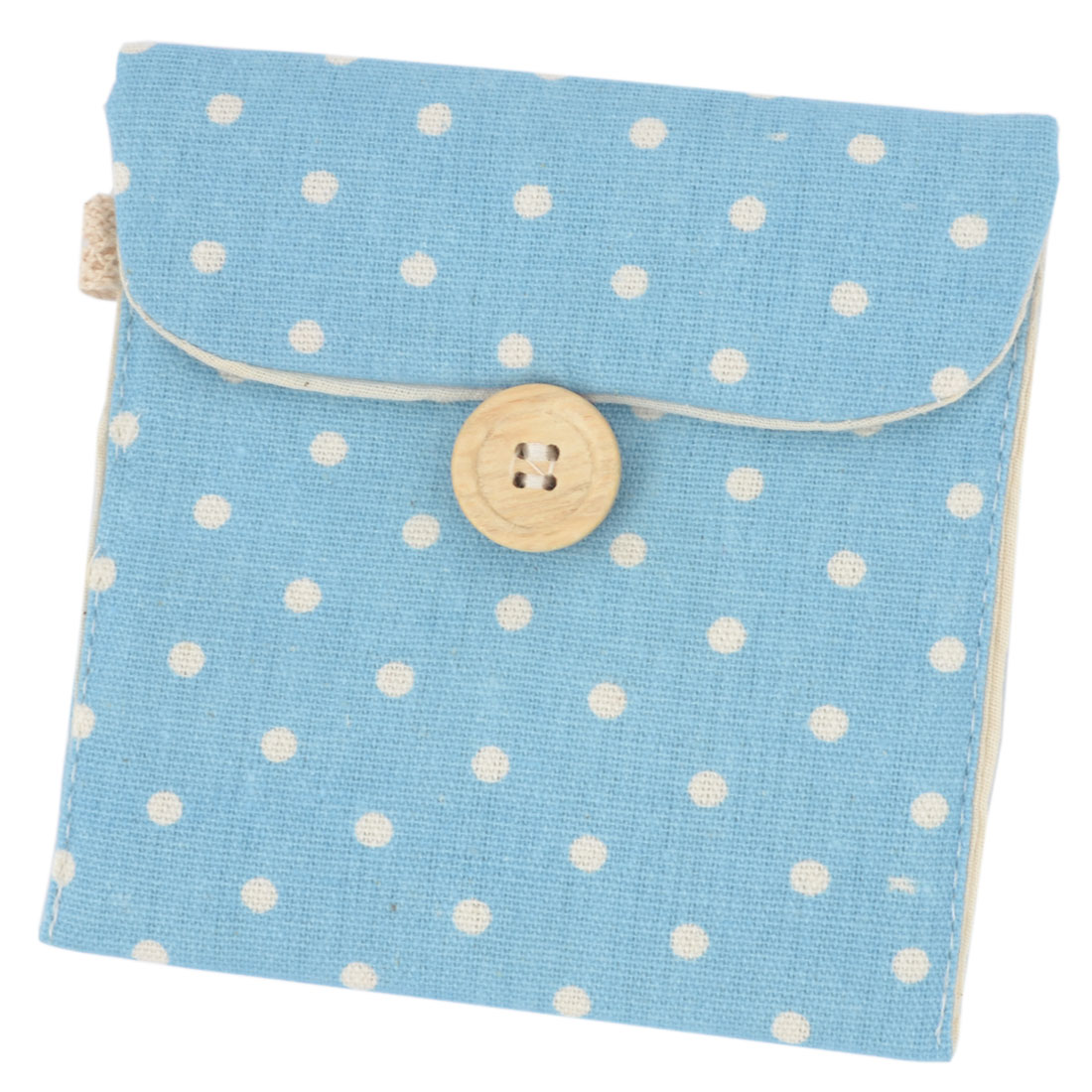Women Soft White Polka Dots Sanitary Pad Holder Bag Blue