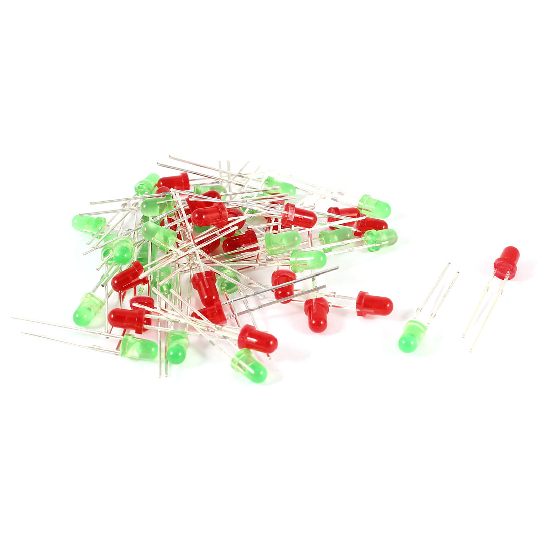 50 Pieces Straw Hat 3mm Red Green LED Light Emitting Diode DC 2.5-3.0V