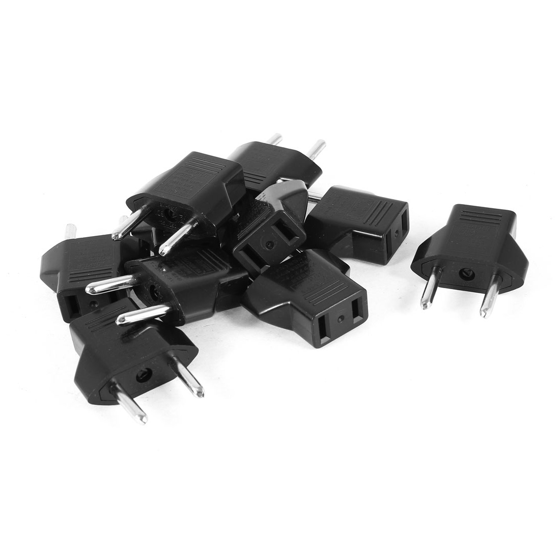 AC 125V/250V 6A EU Plug Male to US Plug Female Socket Power Adapter Black 10 Pcs