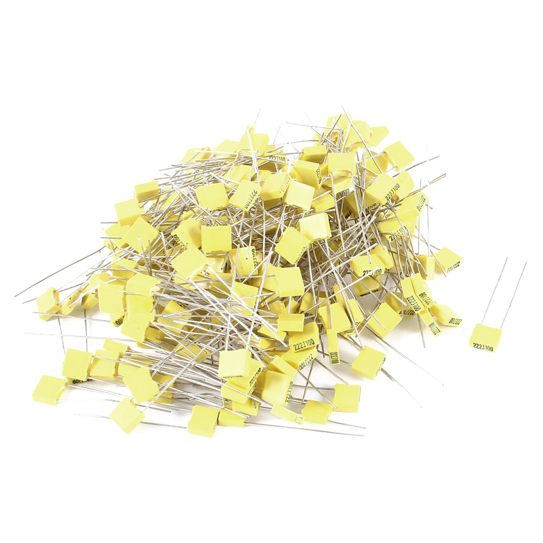200 Pieces 100V 2.2NF Metal Radial Lead Box Type Film Correction Capacitor Yellow