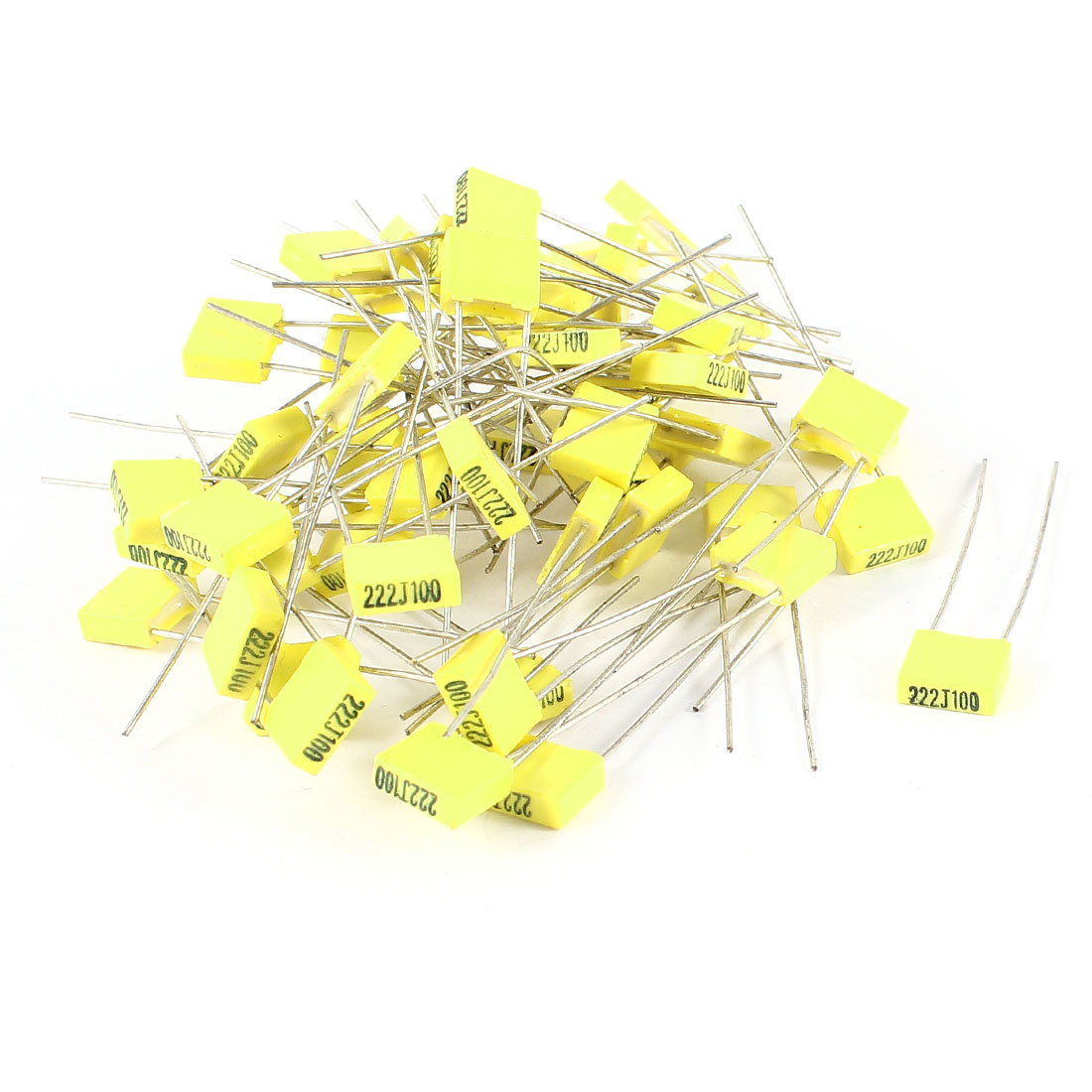 50 Pieces 100V 2.2NF Metal Radial Lead Box Type Film Correction Capacitor Yellow
