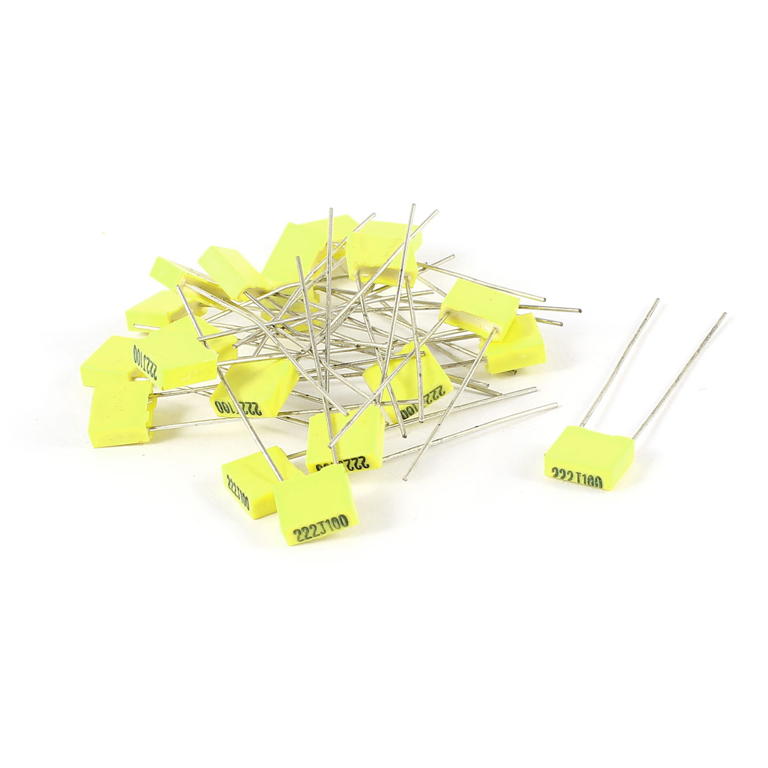 20 Pcs 100V 2.2NF Radial Lead Box Type Film Correction Capacitors Yellow