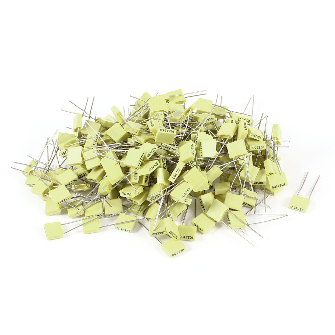 200 Pieces 100V 1NF Metal Radial Lead Box Type Film Correction Capacitors Yellow
